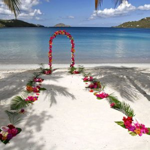 arch and aisle for beach wedding
