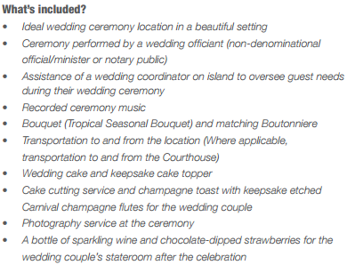 what's included in the carnival cruise ship wedding package