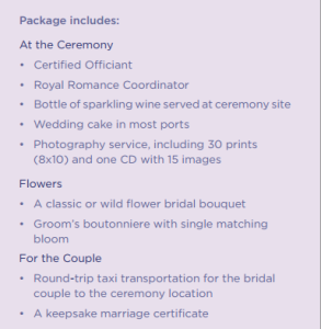 Royal Caribbean Cruise Ship Wedding Package Details