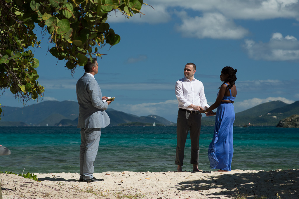 The Officiant and Wedding Couple at Sapphire Beach