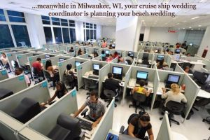 cruise line wedding planners in a call center