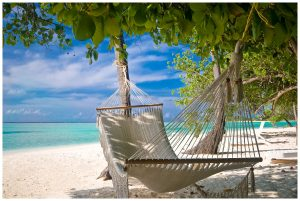 A hammock on a beach in the Caribbean