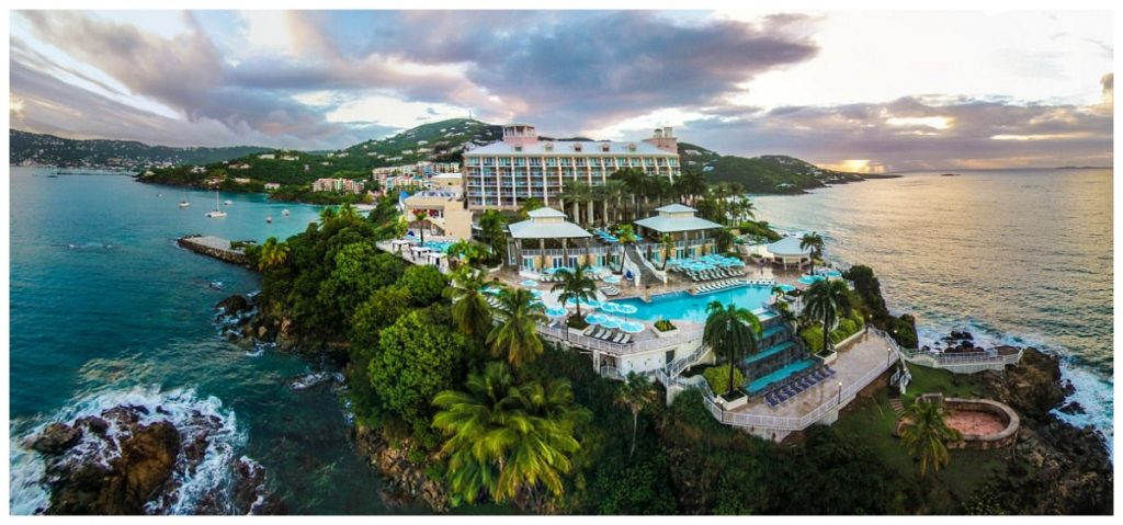 Ariel view of Marriott Frenchman's Reef Hotel in St. Thomas