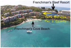 Map of how to get to beach at Frenchman's Cove